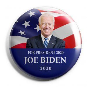Featuring Joe Biden in front of Flag