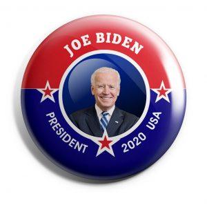 Patriotic Joe Biden button with picture