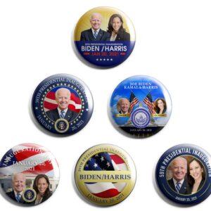 Joe Biden / Kamala Harris Inauguration Buttons set of 6 (INAUG-ALL)